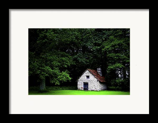 Architecture Framed Print featuring the photograph Cottage In The Woods by Fabrizio Troiani