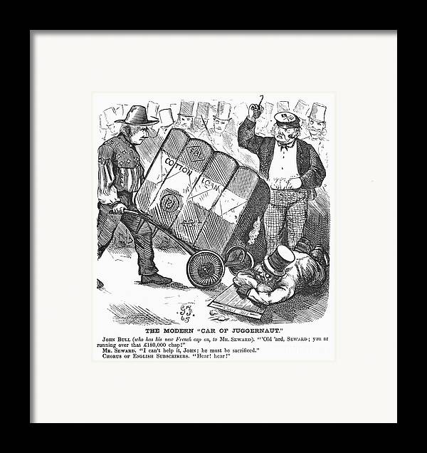 1865 Framed Print featuring the photograph Cotton Loan Cartoon, 1865 by Granger