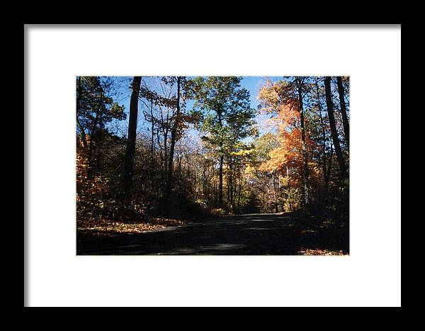 Wisconsin Framed Print featuring the photograph Country Road In Autumn by Kay Novy