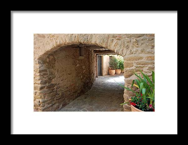 Courtyard Framed Print featuring the photograph Courtyard in the Village by Dany Lison
