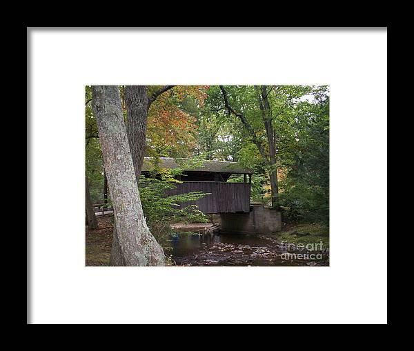 Covered Bridge Framed Print featuring the photograph Covered Bridge By The Cottage by Nancy Patterson