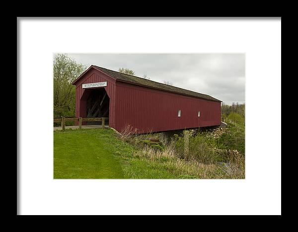 Bridge Framed Print featuring the photograph Covered Bridge Zumbrota 1 by John Brueske