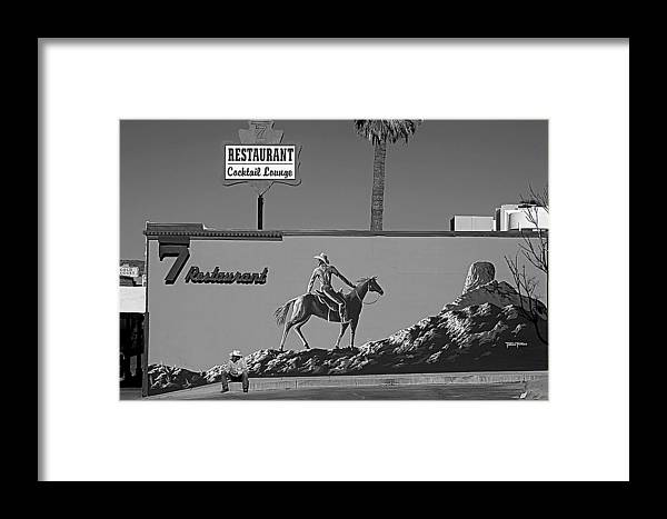 Cowboy Black And White Landscape Billborad Signs Horses Hat Rock Number 7 Framed Print featuring the photograph Cowboy Billboard by Alex Lemus