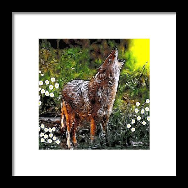 Coyote Framed Print featuring the digital art Coyote Howl by Madeline Allen - SmudgeArt