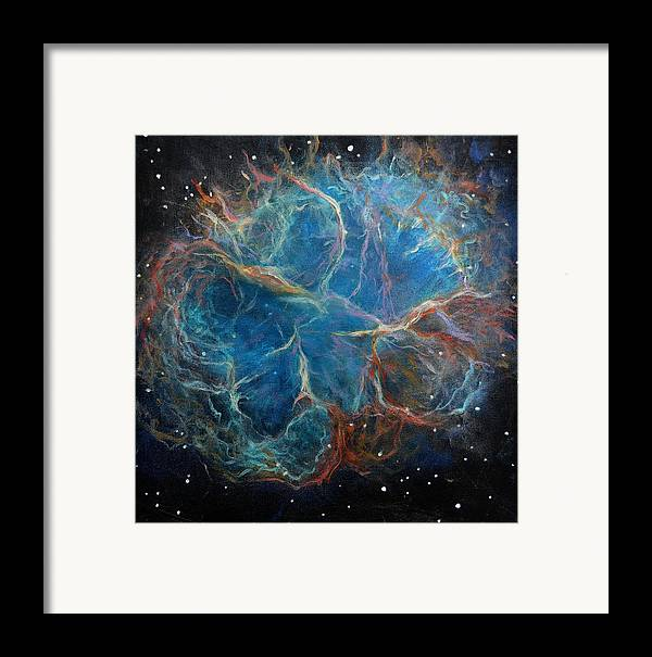 Space Framed Print featuring the painting Crab Nebula by Alizey Khan