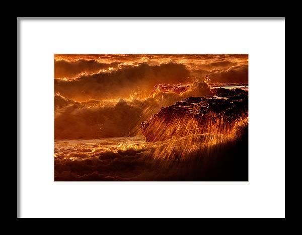 Waves Framed Print featuring the photograph Crashing by Matt Trimble