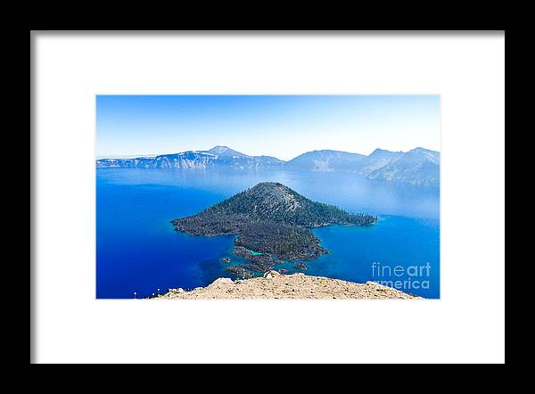 Crater Lake Framed Print featuring the photograph Crater Lake Wizard Island by L J Oakes