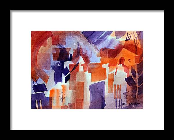 Abstract Watercolor Framed Print featuring the painting Crazy Day. by Josh Chilton