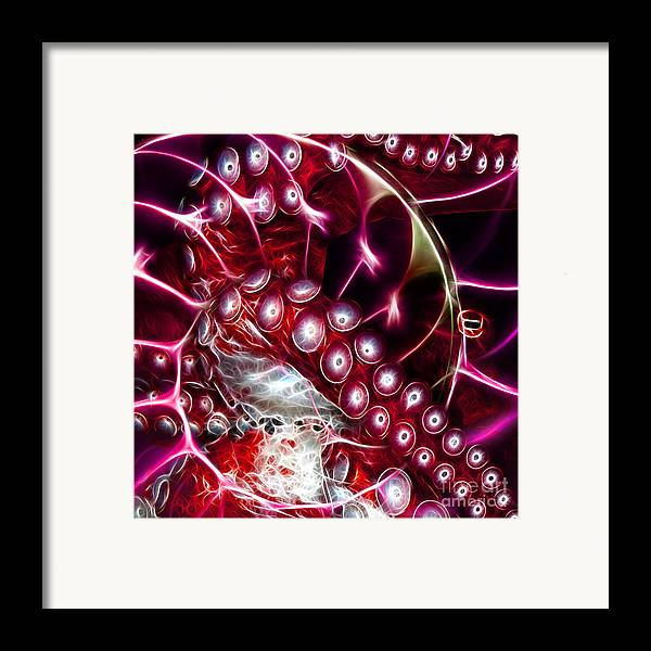 Octopus Framed Print featuring the photograph Creatures Of The Deep - Octopus Caught In The Swirl Of The Giant Nautilus - Electric - Square - Red by Wingsdomain Art and Photography
