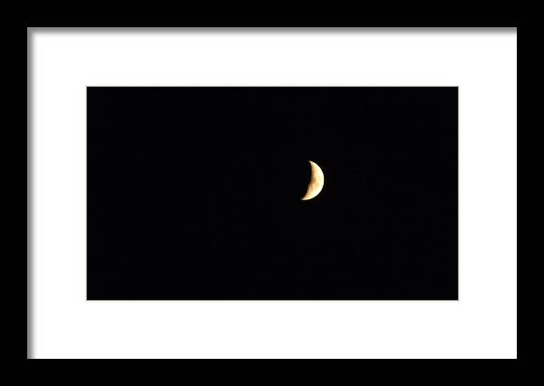 Crescent Moon Framed Print featuring the photograph Crescent Moon by Jessica Cruz