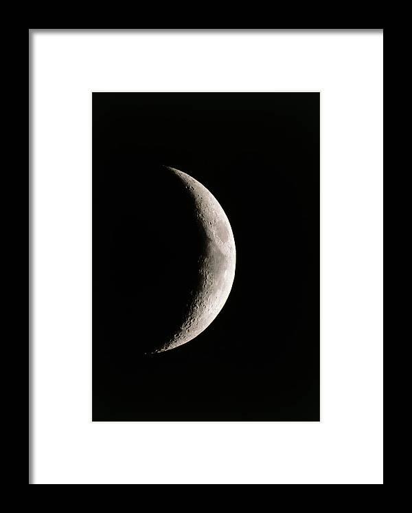 Mare Serenitatis Framed Print featuring the photograph Crescent Moon Showing Mare Serenitatis by John Sanford
