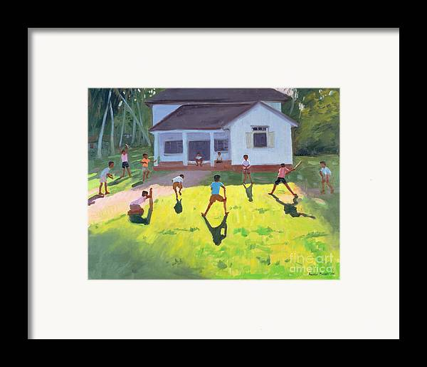 Children Framed Print featuring the painting Cricket by Andrew Macara