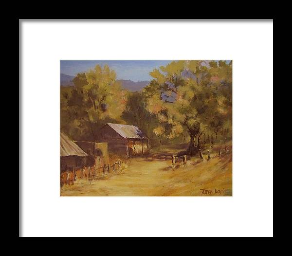 Landscape Framed Print featuring the painting Crippen Ranch by Karen Ilari
