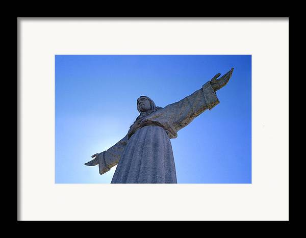 Catholic Monument Of Jesus Christ Inspired By The Christ The Redeemer Statue In Rio De Janeiro Framed Print featuring the photograph Cristo Rei by Anonymous