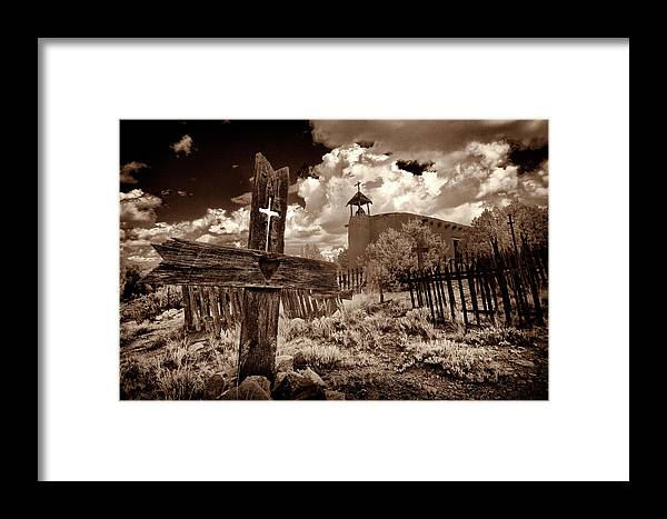 Los Golondrinas Framed Print featuring the photograph Cross At Los Golondrinas by Christine Hauber