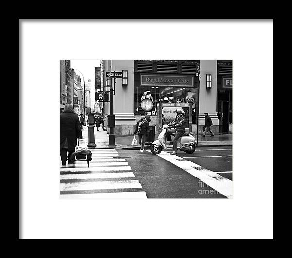 Manhattan Nyc Ny Cross Scooter Pedestrian Path Traffic Light Crossing Red Light Street Photographer Black And White Gift Office Decor Decoration Kart Framed Print featuring the photograph Crossing Paths by Darwin Lopez