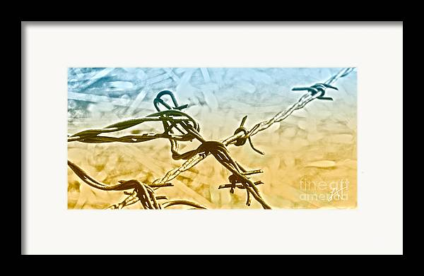 Barbwire Framed Print featuring the digital art Crossroads Of Faith by Artist and Photographer Laura Wrede