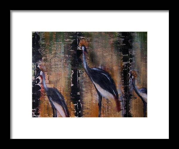 Nature Framed Print featuring the painting Crowned cranes by Joseph Ferguson