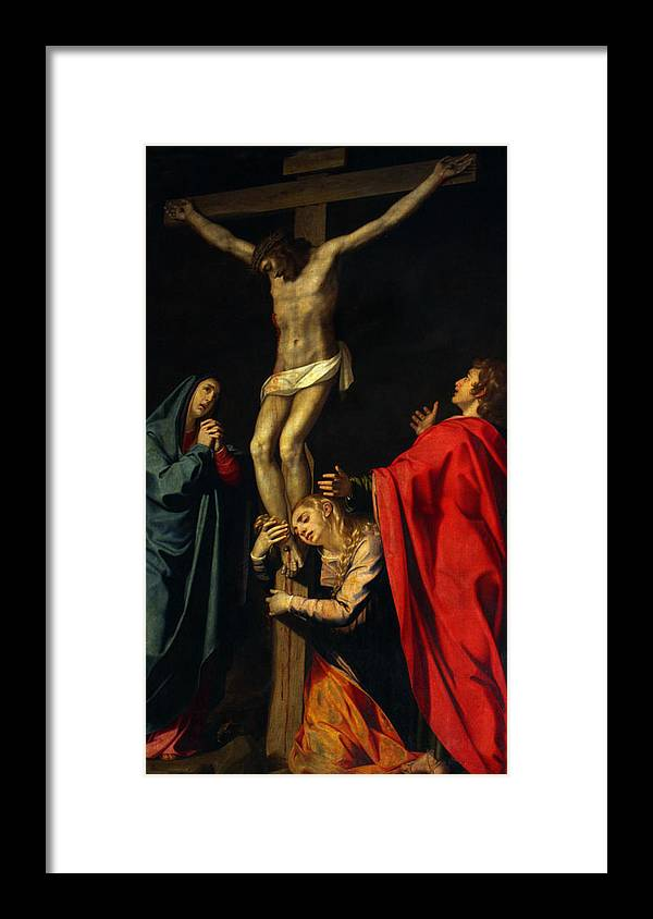 Crucification Framed Print featuring the photograph Crucification at Night by Munir Alawi