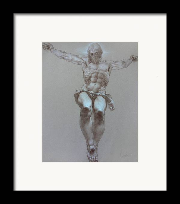 Symbolism Framed Print featuring the drawing Crucifixion by Valeriy Mavlo