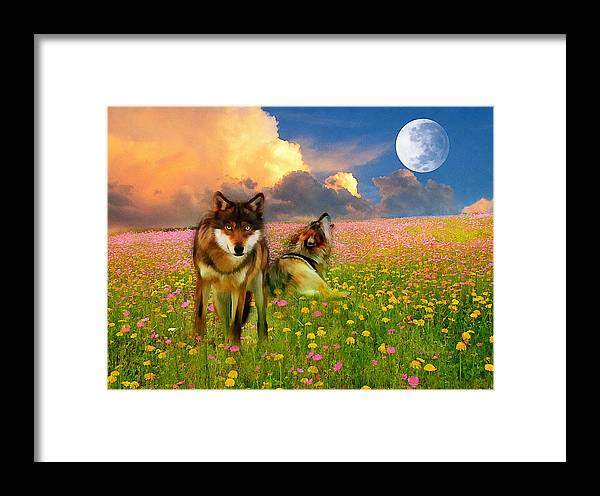 Nature Framed Print featuring the digital art Cry At The Moon by Georgiana Romanovna