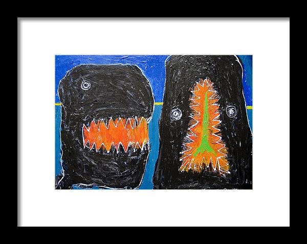 Kid Art Framed Print featuring the painting Crying And Biting by Kazuya Akimoto