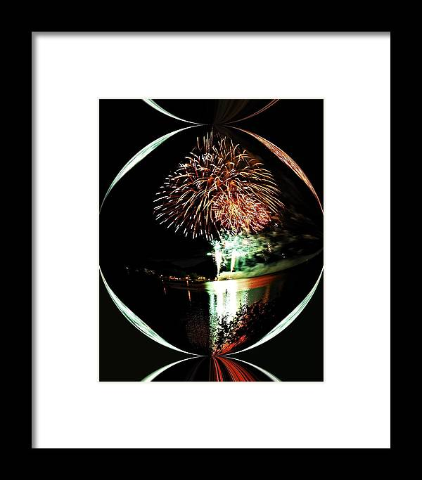 Fireworks Framed Print featuring the photograph Crystal Ball Fireworks by Don Mann