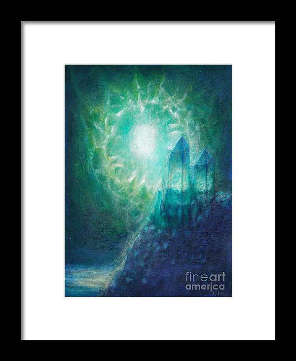 Aliens Framed Print featuring the painting Crystal Cliff by Michelle Cavanaugh-Wilson