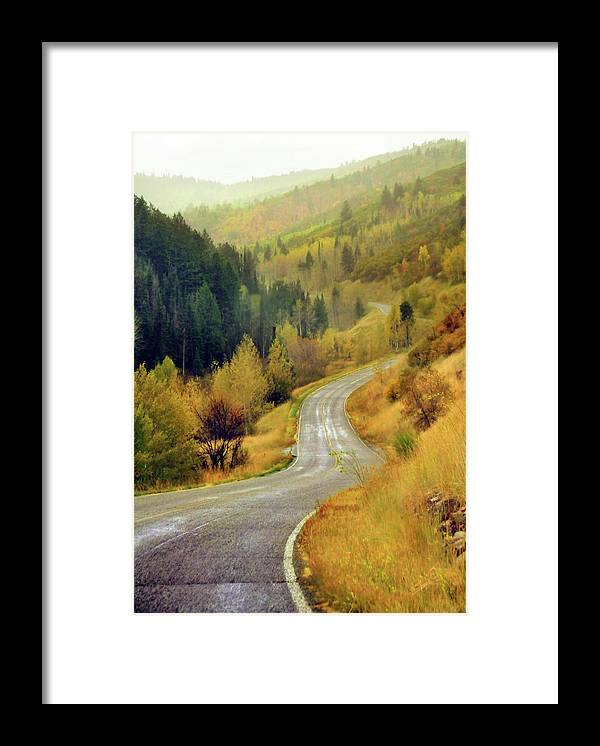 Vertical Framed Print featuring the photograph Curve Mountain Road With Autumn Trees by Utah-based Photographer Ryan Houston