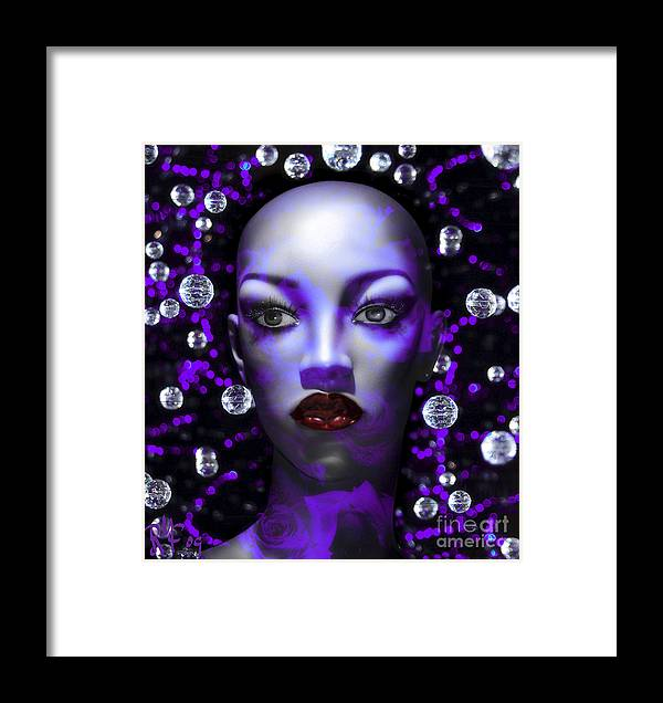 Blue Framed Print featuring the digital art Cushioned Lips Moon Lady by Rosa Cobos