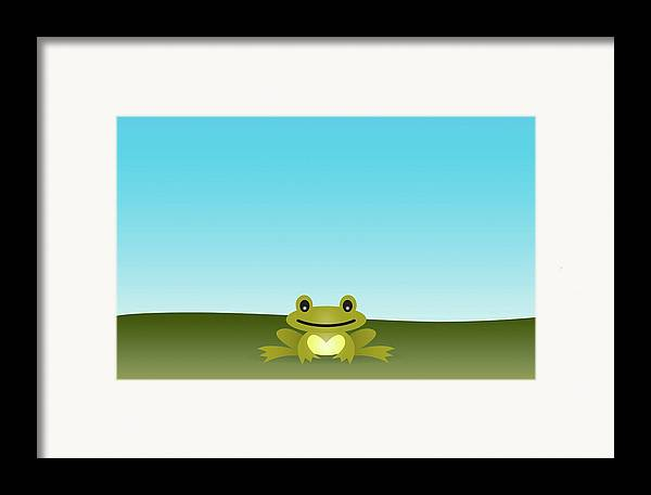 Horizontal Framed Print featuring the digital art Cute Frog Sitting On The Grass by © Roctopus