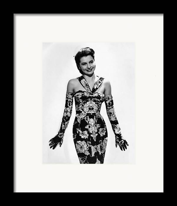 11x14lg Framed Print featuring the photograph Cyd Charisse Modeling Flowered Evening by Everett