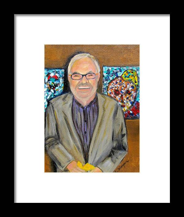 Dad Framed Print featuring the painting Dad Shows His Art by Laurie Morgan