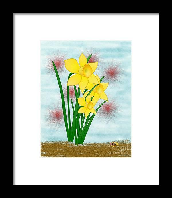 Digital Painting Framed Print featuring the digital art Daffodills by Rod Seeley