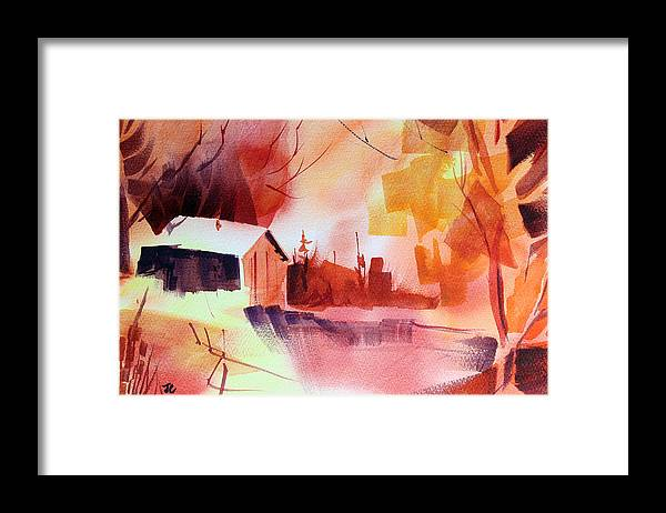 Abstract Landscape Framed Print featuring the painting Dagmar's Farm No. 1 by Josh Chilton