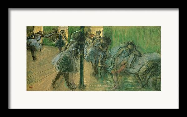 Dancers Rehearsing Framed Print featuring the painting Dancers Rehearsing by Edgar Degas