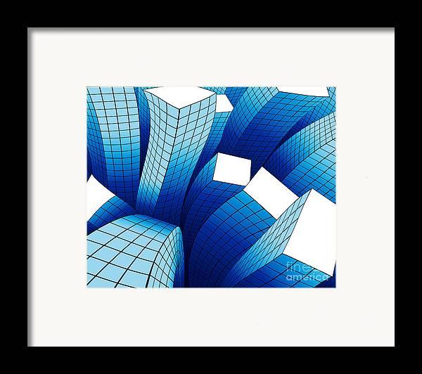 Aftershock Framed Print featuring the digital art Dancing Buildings by Atiketta Sangasaeng
