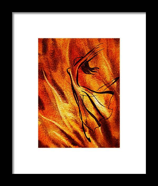 Abstract Framed Print featuring the painting Dancing Fire Vi by Irina Sztukowski
