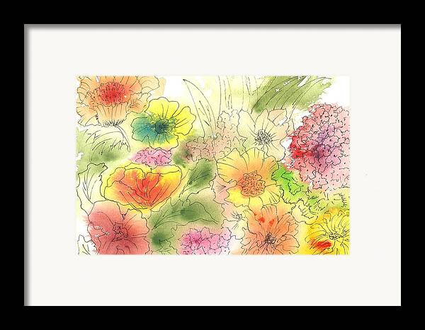 Watercolor Framed Print featuring the painting Dancing Flowers by Christine Crawford