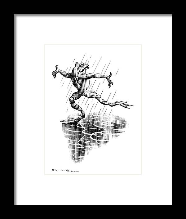 Common Frog Framed Print featuring the photograph Dancing In The Rain, Conceptual Artwork by Bill Sanderson