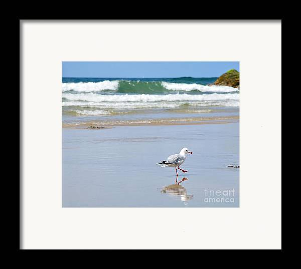 Photography Framed Print featuring the photograph Dancing On The Beach by Kaye Menner
