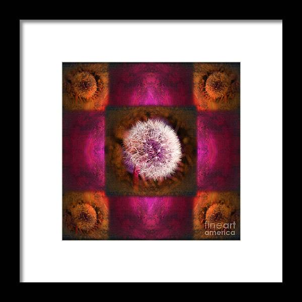 Fantasy Framed Print featuring the photograph Dandelion in Flame by Laura Iverson