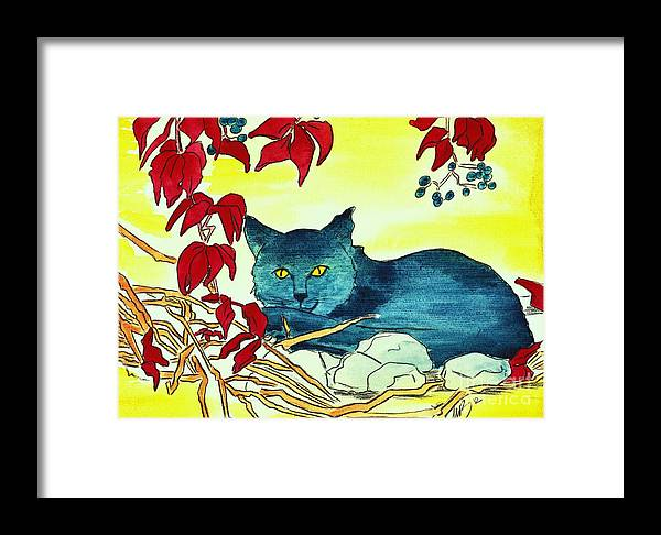 Watercolour Framed Print featuring the painting Dark Cat by Michaela Bautz