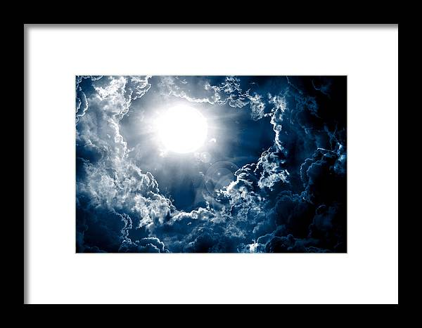 Above Framed Print featuring the mixed media Dark Sky With Sun by Nattapon Wongwean