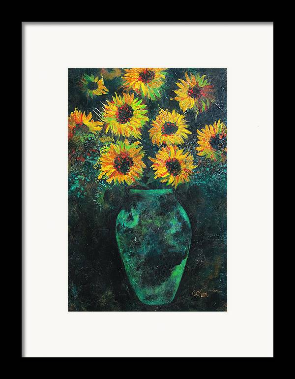 Sunflower Framed Print featuring the painting Darkened Sun by Carrie Jackson