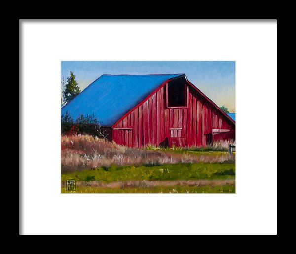 Barn Framed Print featuring the painting Darst Barn On West Beach Road by Stacey Neumiller