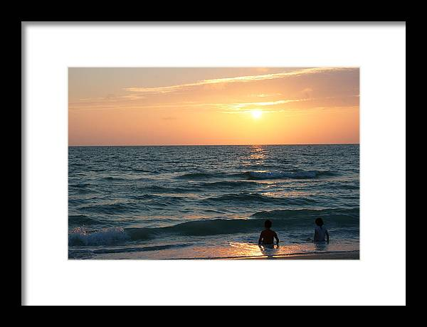 Beach Sunset Framed Print featuring the photograph Day's End by Georgia Fowler