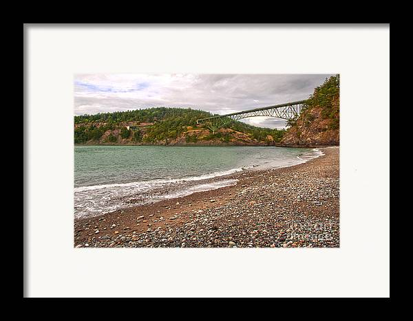 Deception Pass In Washington State Framed Print featuring the photograph Deception Pass Washington by Artist and Photographer Laura Wrede