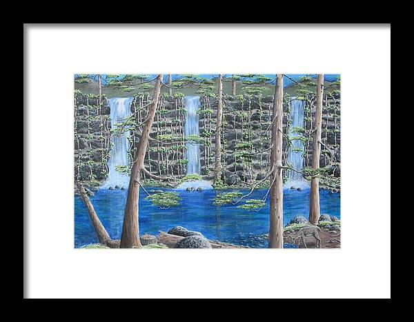 Landscape Framed Print featuring the painting Deer By Falls And Vines by Katia Wallace