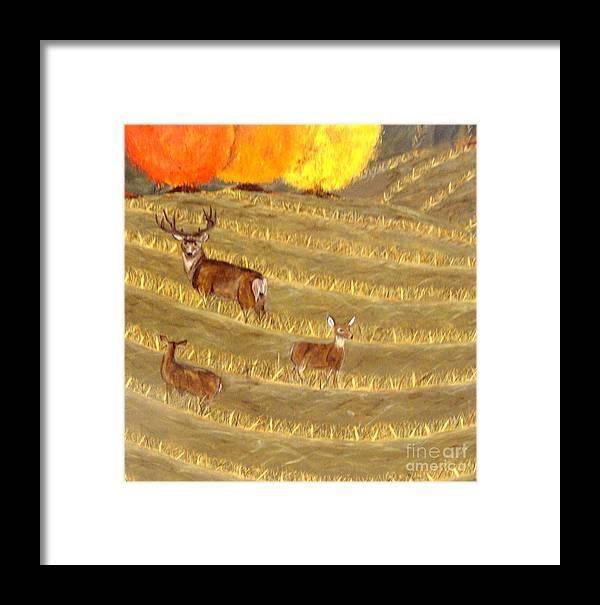 Deer Framed Print featuring the painting Deer In Field by Erin Mikels